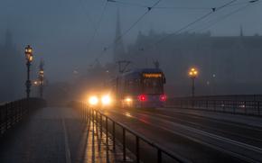 Stoccolma, Svezia, città, notte, luci