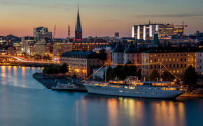 Stockholm, Sweden, city, night, lights