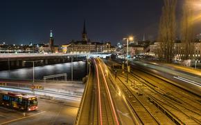 Sztokholm, Szwecja, miasto, noc, Światła