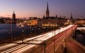 Stockholm, Sweden, city, night, lights