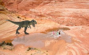 dinosaur, Girls, chase