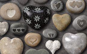 Personas de Kisenok, Valentine, Día de San Valentín, fiesta, corazón, corazones, Corazón, piedras