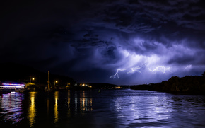 night, river, lightning, landscape