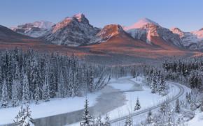 Río Bow, Canadá, Montañas, río, HIERRO, carretera, invierno, paisaje