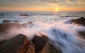 sunset, sea, stones, waves, spray, landscape
