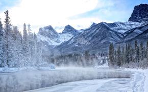 hiver, rivière, Montagnes, arbres, paysage