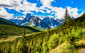 Banff National Park, Alberta, Mountains, trees, landscape
