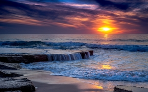 sunset, sea, Rocks, waves, landscape
