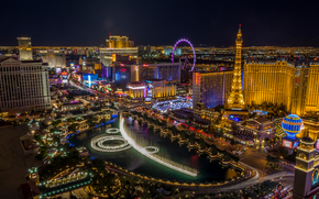 Las Vegas, Nevada, USA, night, lights, city
