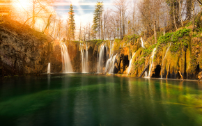 sunset, waterfall, pond, Plitvice, croatia