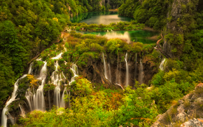 river, waterfalls, Plitvice, croatia