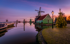Village Zaanse Schans, Netherlands, sunset, landscape