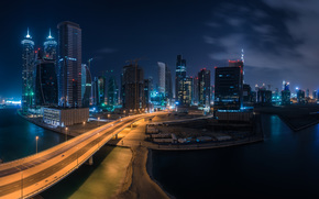 Dubai, city, road, night