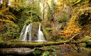 autumn, waterfall, forest, small river, trees, nature
