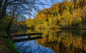 осень, озеро, лес, деревья, мостик, пейзаж