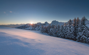 sunset, winter, Mountains, snow, drifts, trees, landscape
