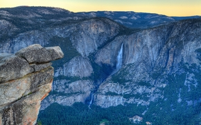Nevada Falls, Yosemite Valley, закат, горы, скалы, водопад, пейзаж
