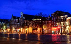 Groningen, Groningen, Niderlandy, noc, Światła
