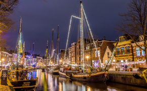 Groningen, Groningen, Netherlands, night, lights
