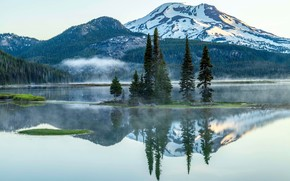Sparks Lake, Deschutes County, Oregon, озеро, горы, пейзаж