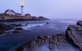 Portland Head Light, Cape Elizabeth, Maine, far, Golful Maine, coastă, apus de soare, peisaj