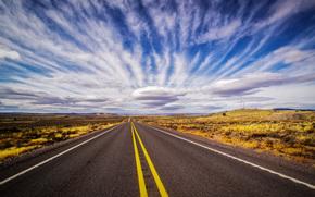 дорога, поле, небо, облака, пейзаж