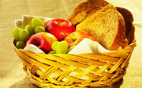 food, Food, cookery, Food, apples, grapes, bread