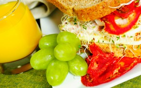 Lebensmittel, Lebensmittel, Kochen, Lebensmittel, Sandwich, Brot, Trauben, Saft