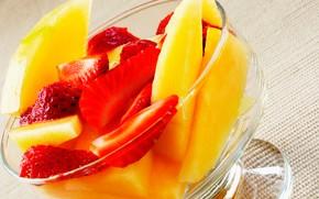 еда, продукты питания, кулинария, пища, фрукты, вазочка, ананас, клубника