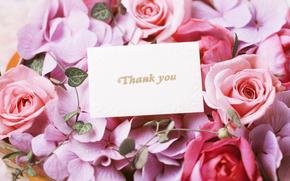 обои от Kisenok, праздник, розы, букет, цветы, записка