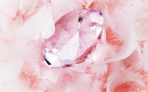 камешек, бриллиант, страза, стекло, огранка, украшение, подарок, пух, перья, праздник