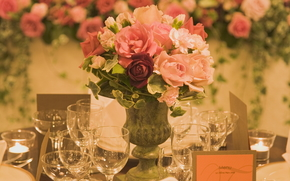 Flowers, flower, rose, Roses, COMPOSITION, bouquet, festive table, crockery, laying
