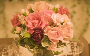 Flowers, flower, rose, Roses, COMPOSITION, bouquet, festive table