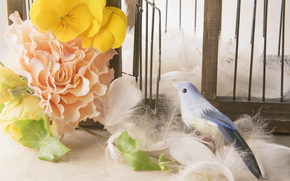 Flowers, COMPOSITION, cell, birdie, plumage