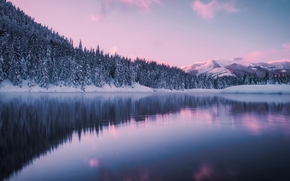 Gold Creek Pond, Hyak, Washington, Giak, Washington, lagoa, lago, inverno, floresta, Montanhas