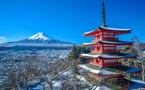 Mount Fuji, Chureito Pagoda, Fujiyoshida, Japonia, Fujiyama, Fuji, Fujiyoshida, Japonia, pagoda, góra, wulkan, zima, panorama