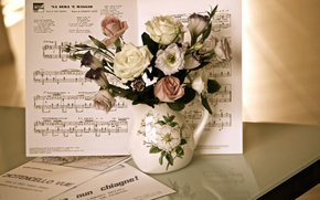 Flowers, rose, Roses, COMPOSITION, bouquet, music, vase