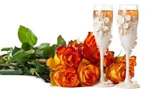 Flowers, flower, rose, Roses, COMPOSITION, bouquet, stemware