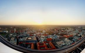 панорама, солнце, крыши