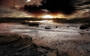 море, песок, восход, скалы