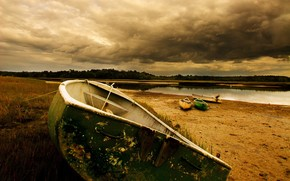 boat, sand, river, clouds