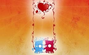 любовь, обоя, рисунок