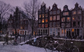 снег, амстердам
