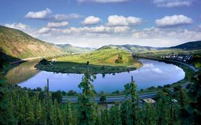 natura, stagno, estate, isola, verdura, strada, cielo, Montagne, casa