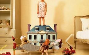 дети, настроение, куклы