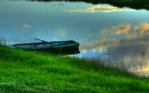 water, boat, grass