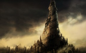 night, Figure, tower