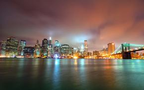 夜, 摩天大楼, 桥, 灯火