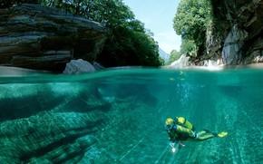 река, вода, горы, водолаз