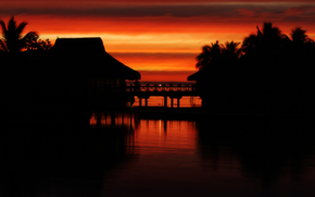 sunset, Tahiti, tropics